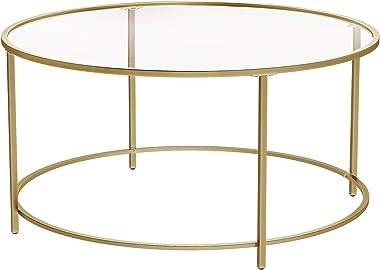 VASAGLE Table Basse Ronde, Dessus de Table en Verre trempé, Cadre en Acier, Table de Salon, Bout de canapé, décoratif, Doré L