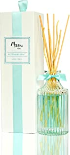 Manu Home Rosemary Mint Reed Diffuser Set~Clean herbal scent is blended with natural essential oils of rosemary, mint, eucalyptus & citrus. Refreshing botanical scent brings home the uplifting aromas~