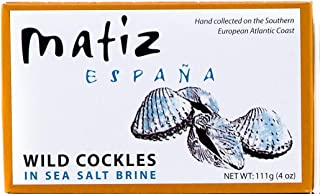 Matiz España Wild Cockles from Galicia, Spain in Natural Sea Salt Brine (4 oz. - Pack of 3) Spanish Berberechos, Small Clams, Hand Packed, Size 45/55