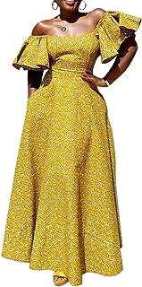 VERWIN Half Sleeve Off Shoulder Women's Maxi Dress Floor-Length Ruffle Sleeve Evening Party Long Dress