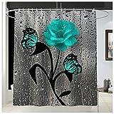 TYOP Alfombra de baño Kit, la impresión de Rose cortina de ducha a prueba de agua, en forma de U estera del tocador estera del piso del kit, cortina de partición con 12 ganchos, cuatro piezas de la al