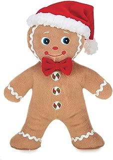Bearington Jolly Ginger Holiday Plush Stuffed Animal Gingerbread Man, 10 inches