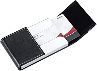 MaxGear PU Leather Business Card Holder Name Card Case Credit Card Holder Magnetic Shut Double Side Open Card Case Professional Business Card Holder for Both Men and Women, Black