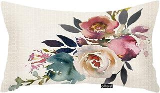 oFloral Throw Pillow Cover Navy Anemone Dusk Blue Pale Pink Gray White Watercolor Floral Corner Bouquet Arrangement Decorative Pillow Case Home Decor Rectangle 12x20 Inches Pillowcase