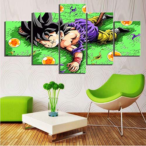 SINGLEAART Impresión De Lienzo 5 Paneles Cuadros,5 Piezas Pintura,Sala Estar Decoración,Modular Póster,Mural Abstracto,Regalo Cumpleaños,Dragon Ball GT Anime Y Goku Son,100Cm×50Cm,con Marco