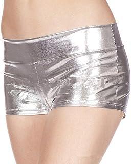 7e25b7b77f2a6 Cywulin Women Sexy PU Leather Boyshort Metallic Rave Booty Dance Imitation  Light Short Underwear