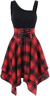 TWIFER Damen TWIFER Sommerkleid Damen Ärmelloses, Trägerloses Kreuzgurt Karomuster mit Unregelmäßigem Kleid