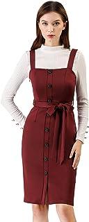 Allegra K Women's Pinafore Button Decor Strap Sheath Stretchy Jumper Suspender Overall Dress