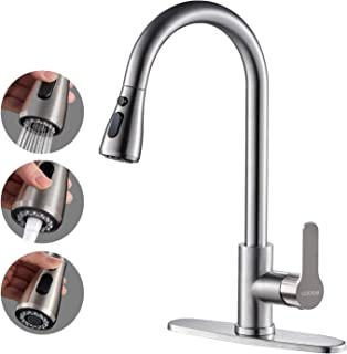 Kitchen Faucet with Pull Down Sprayer, Cobbe High Arc Gooseneck Kitchen Sink Faucet, Stainless Steel Single Handle Lead-Fr...