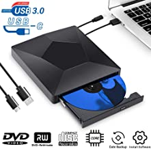 External CD DVD Drive, USB 3.0 Type-C Dual Port Superdrive Portable DVD CD RW Drive Burner Writer Optical DVD Drive Plug and Play High Speed Data Transfer for Macbook/MacOS/Windows 10/8/7 Linux Laptop