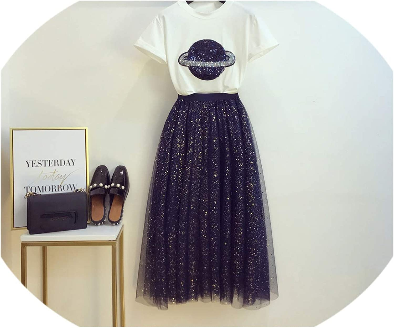 Enjoypeak Summer Long Dress Suit Woman TwoPiece Suit New Sequin TShirt + Star Sky Screen Long Skirt Girls