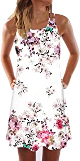 Sumeimiya Women's Vintage Dress, Ladies Boho Printed Short Mini Dress Summer Sleeveless Beach Dress Above Knee Dress