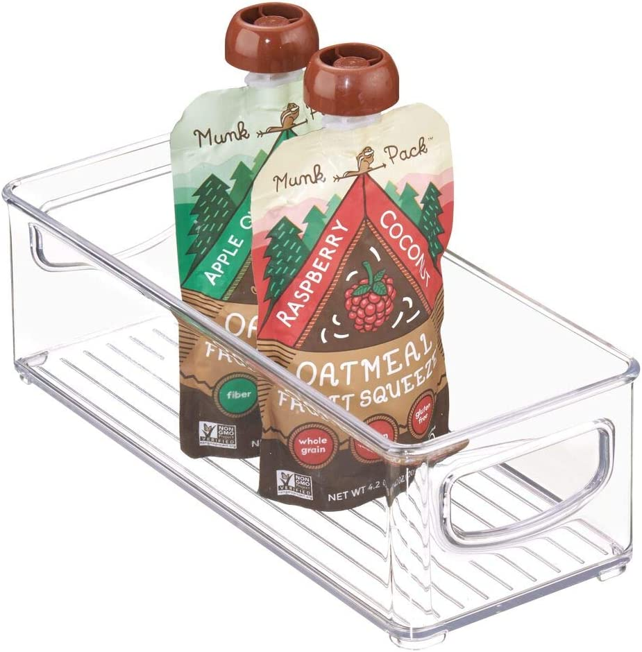 mDesign Stackable Plastic Food Storage Bin with Handles for Kitchen Pantry, Cabinet, Refrigerator, Freezer - Organizer for Fruit, Yogurt, Squeeze Pouches - BPA Free, 10