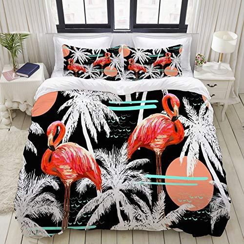 Dodunstyle Duvet Cover,Jungle Flamingo Beautiful Floral Summer Pattern Vintage Animals Pink Aloha Beach Pretty Tropical,Bedding Set Comfy Lightweight Microfiber Sets