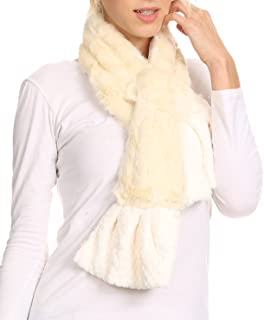 Nadia Long Thin Soft Warm Comfort Faux Fur Scarf With Flare Ruffle Ends