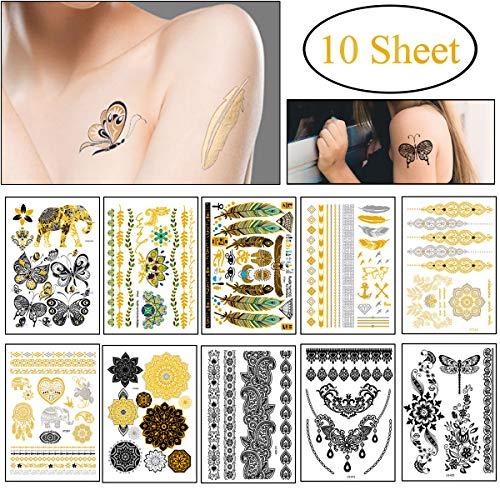 10 Blatt Temporäre Tattoos, Wasserdicht Fake Metallic Tattoo Aufkleber Klebe Festival Tätowierung Gold und Schwarz für Frauen Männer