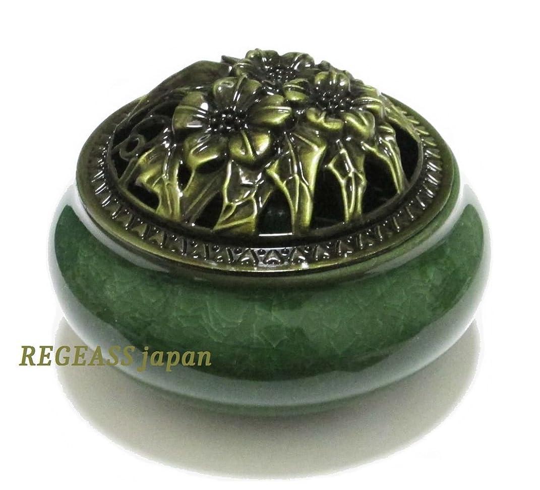 ボウリング古くなった熟考するREGEASS 風水 開運 香炉 磁器 丸香炉 お香立て 天然水晶さざれ石付き (深緑)