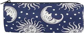KUWT Pencil Bag Vintage Bohemian Sun Moon Space, Pencil Case Pen Zipper Bag Pouch Holder Makeup Brush Bag for School Work Office