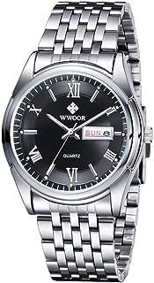 ساعة يد عصرية كاجوال تناظرية كوارتز ساعة رجال مقاومة للماء من الفولاذ المقاوم للصدأ