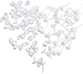 TOAOB 100Pcs Earring Stud Settings Earnuts 3Mm Cupped Allergy Free Ear Pins Plastic