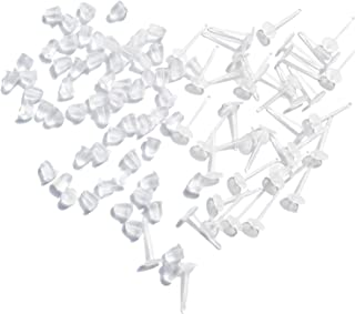 TOAOB 100 Pairs Plastic Earring Posts Blanks Ear Pins and Clear Rubber Safety Backs Earring Stoppers Jewelry Findings