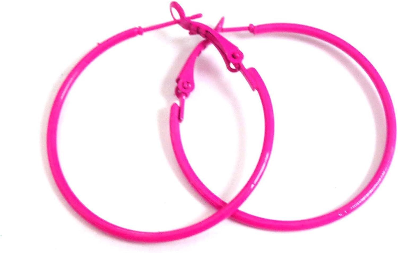 Hot Pink Hoop Earrings Simple Thin Hoop Earrings 1.5 Inch Hoop Earrings