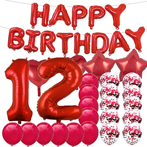 Sweet 12th Birthday Decorations Party Supplies,Red Number 12 Balloons,12th Foil Mylar Balloons Latex Balloon Decoration,Great 12th Birthday Gifts for Girls,Women,Men,Photo Props