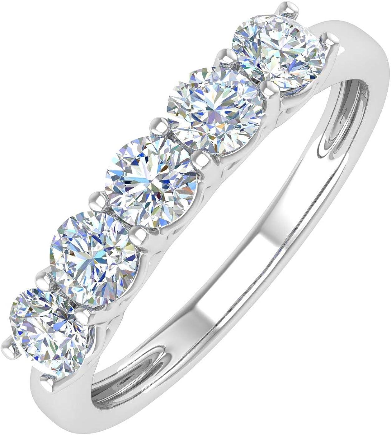 1 Carat (ctw) 5-Stone Diamond Wedding Band Ring in 14K Gold - IGI Certified
