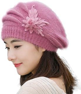 BaZhaHei Boina de la Flor de la señora Moda para Mujer Flor de Punto Crochet Beanie Hat Winter Warm Cap Beret Fashion Womens Flower Knit Crochet Beanie Hat Winter Warm Cap Beret