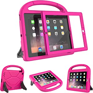 AVAWO Kids Case Built-in Screen Protector for iPad 2 3 4 (Old Model)- Shockproof Handle Stand Kids Friendly Compatible with iPad 2nd 3rd 4th Generation (Rose)