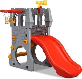 HONEY JOY Slide and Climber, Toddler Slide with Basketball Hoop, Climb Stairs, Kids Indoor Outdoor Activity Center (Castle Slide+Basketball Hoop)