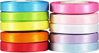 Q-YO Satin Ribbon for Crafts - Satin Fabric Ribbon Set for Gift Package Wrapping, Hair Bow Clip Accessories Making, Crafting, Wedding Decor, Boy Girl Baby Shower (50yd(10x5yd) 1/4