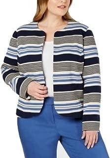 Anne Klein Plus Size Striped Tulip Jacket Blue 14