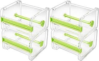Molshine 4 Pack Transparent Visible Desktop Multi Washi Masking Tape Dispenser,Tape Cutter,Roll Tape Holder (Not Include Masking Tape) (Green)