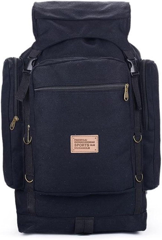 ALUS Casual Hiking Backpack, Canvas Rucksack Outdoor Sport Travel Trekking Running Mens (color   Black)