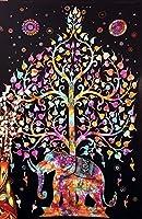 Tree of LifeサイケデリックWall Hanging Elephantタペストリーマルチ/ブラック