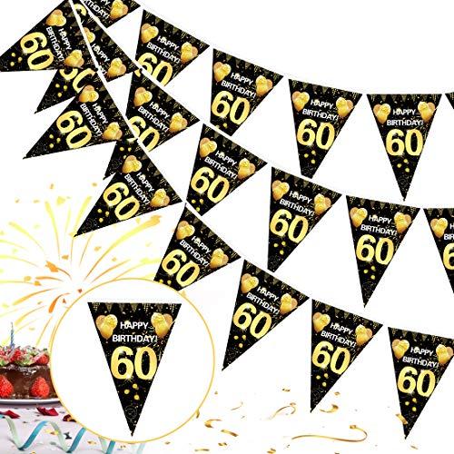 60 Cumpleaños Pancarta Triángulo Oro Negro,60 Cumpleaños Banderines Decoracion de Fiesta,60 Años Oro Negro Guirnalda Banderas,60 Cumpleaños Banderines Decoración Colgante Pancarta de Bienvenida