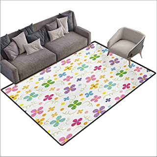 Door Rug Indoors Kids Spring Inspired Sketch Art Style Daisy Blossoms and Dots in Lively Colors Fun Nature Country Home Decor W78 xL94 Multicolor