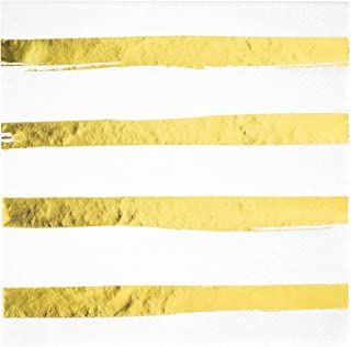 Creative Converting White and Gold Foil Striped Napkins, 16 Count