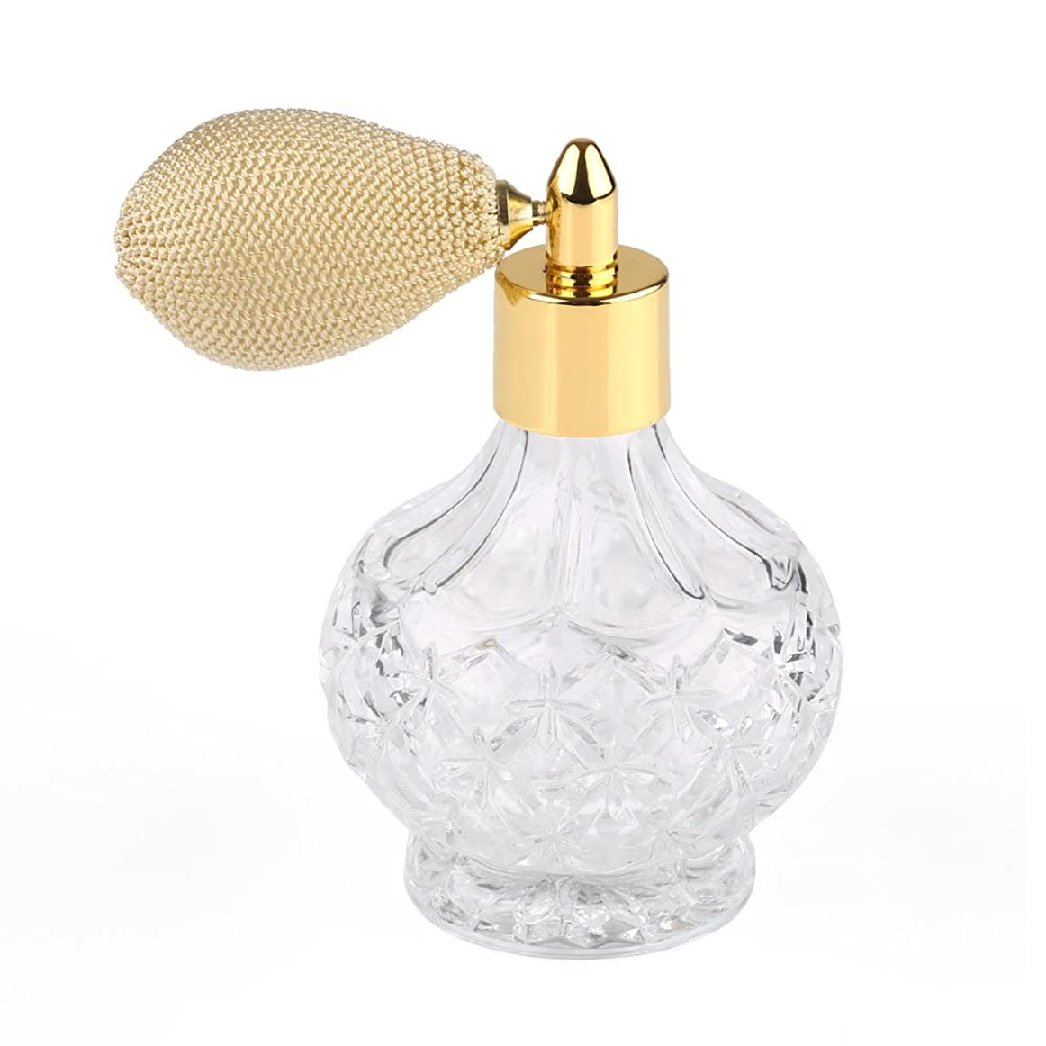 あえぎビヨンチャールズキージング高品質18MMガラスボトル香水瓶 アトマイザー  クリア星柄ストリームラインデザイン 金色ニットスプレー 80ML ホーム飾り 装飾雑貨 ガラス製