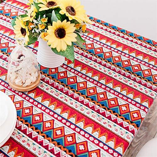 MENGMENGDA Coton Rouge Imitation Lin Nappe Ethnique Méditerranéen Bohème Nappe De Thé Nappe De Restaurant, 140 * 140Cm