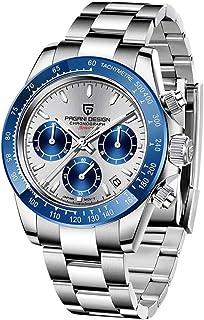 PAGANI DESIGN Reloj de cuarzo para hombre, movimiento japonés, cronógrafo, acero inoxidable, multifunción, resistente al a...