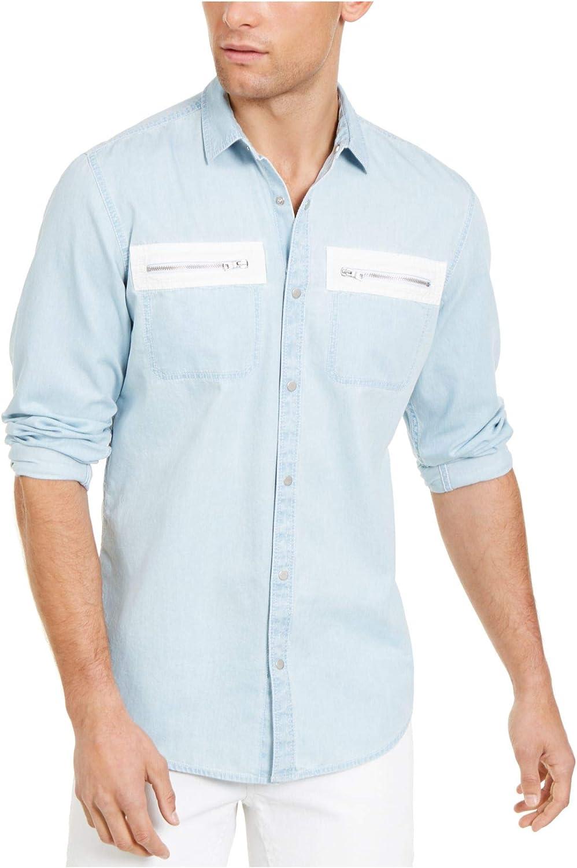 I.N.C. International Concepts INC Mens Light Blue Collared Dress Shirt XS