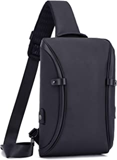 Crossbody Bag Outdoor Shoulder Bag with USB Charging Port Men's Fashion Chest Bag Leisure Sports Bag Black Small Backpack