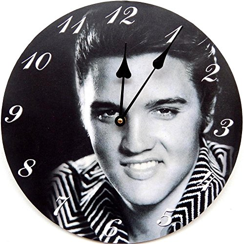 Tinas Collection Wanduhr Elvis Presley Smile Küchenuhr Quarzuhr Uhr Schwarz-weiß Bild