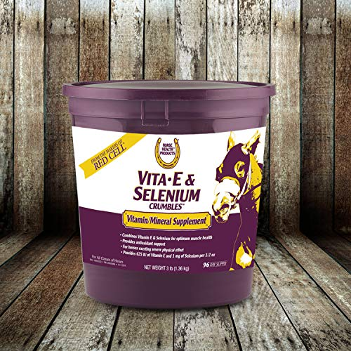 Horse Health Vita-E & Selenium Crumbles, Supports Optimal Muscle Health in Horses, 3 pounds, 96 Day Supply