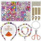 ZesNice Perles pour enfiler, ensemble de cordon de bijoux pour enfants, bracelet d'amitié bricolage colliers kit d'artisanat bandeau pour filles, 24 couleurs