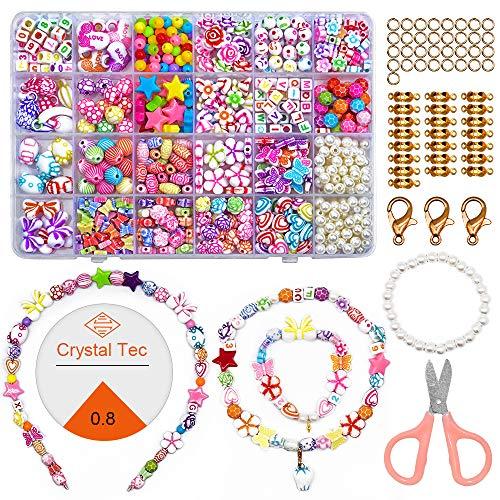 ZesNice Perlen zum Auffädeln Kinder Schmuck Schnurset, 24 Stile DIY Perlenset Freundschaftsarmbänder Halsketten Kunsthandwerks-Set für Mädchen Kinder
