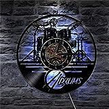 WEMUR Guitarra batería Set Silueta LED retroiluminación música Vinilo Moderno 3D Reloj de Pared Reloj Banda Miembro Fan cinturón de Regalo Hecho a Mano