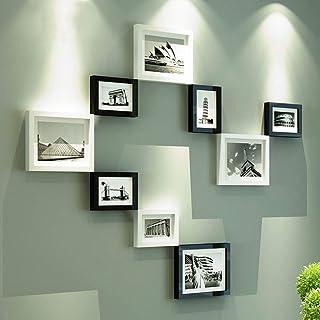JY Conjunto de marcos de fotos de madera-Montado en la pared Home Mall- Marcos de fotos industriales retro Wall + Marcos d...